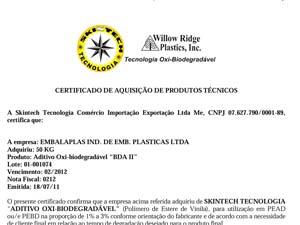 Certificado Embalaplas